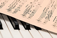 printed music on keyboard